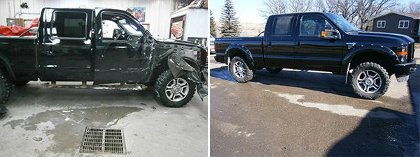 before and after of auto body and auto glass repair